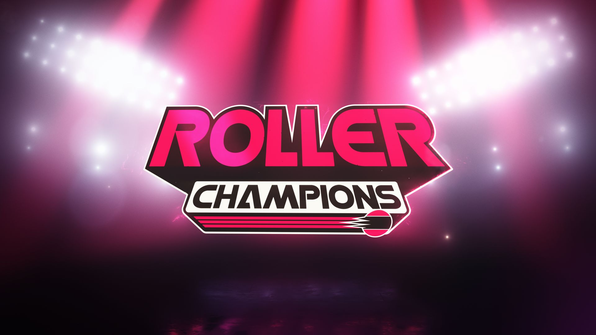 Roller Champions Logo with stadium lights in background